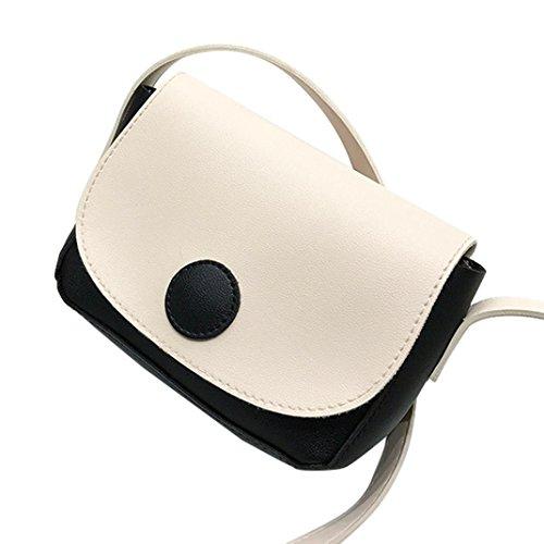 Longra Donna PU singola spalla in pelle, borsa a tracolla, Mini Bag Nero