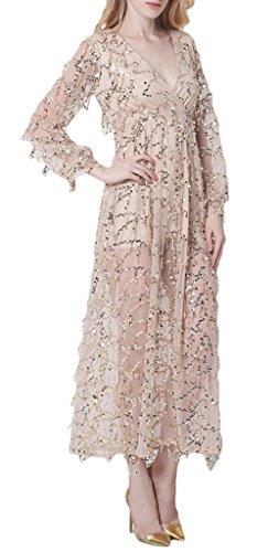Bigood Robe Longue Femme Tulle Paillette Robes Cocktail Soirée Mariage Fendue Sexy Col V Manche Longue Abricot
