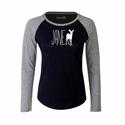 Brand88 - Jane Doe, Damen Langarm Baseball T-Shirt Blau & Grau