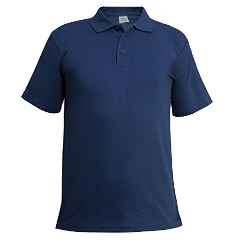 Metzuyan Ltd Mens Polo Shirt Classic Plain Big and Tall Plus Size T-Shirts Navy 4XL