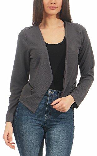 Malito Damen Blazer ohne Kragen | Sakko im Basic Look | Kurzjacke mit Zipper | Jacke - Jackett - Blouson 6040 (dunkelgrau, XXL)