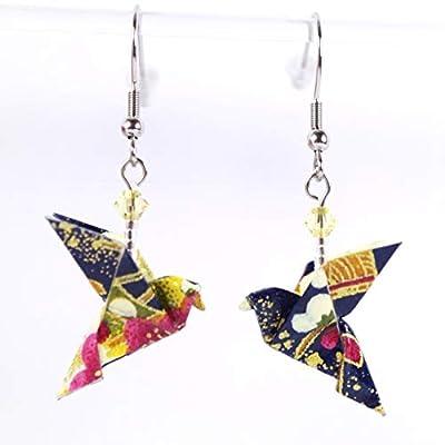 Boucles d'oreilles colombes origami bleues et roses