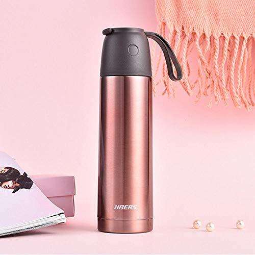 YHYZBZ Vakuum Isolierte Edelstahl Trinkflasche, BPA Frei Wasserflasche Auslaufsicher Thermosflasche,Business-Gürtel tragbar, Roségold,für Kinder Erwachsener, Schule Sport Outdoor Büro -