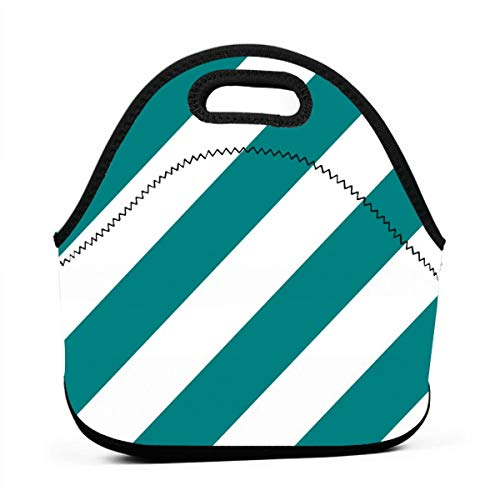 Teal Fresh White Color Simple Stripe Gift Present Candy Paper Pattern Neoprene Lunch Bag with Cutlery Case for Thermal Thick Lunch Tote Bag for Adults,Kids -