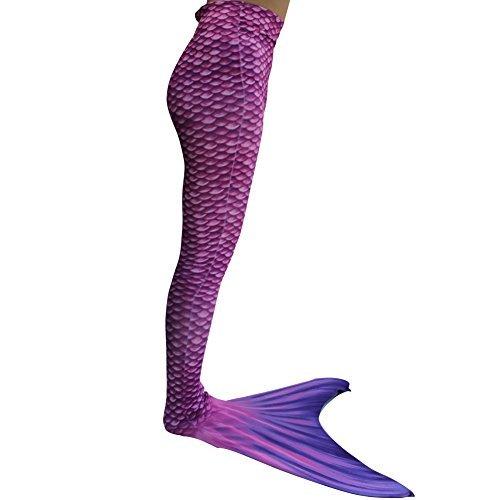 Meerjungfrauenschwanz Kostüm (Dressyday Mädchen Gemalt Meerjungfrau Kostüm Meerjungfrauenschwanz für  Kinder Schwimmen mit Meerjungfrau Flosse(Mädchen 14, 158-162))