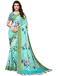 AKHILAM Women's Floral Printed Linen Saree with Unstitched Blouse Piece (Green_4ARDHN26006)