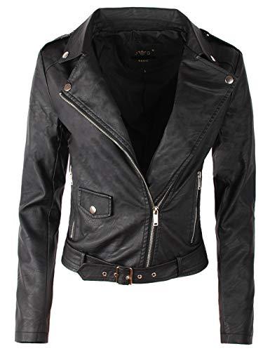 Fraternel Damen Jacke Bikerjacke Kunstlederjacke mit Gürtel Schwarz L / 40