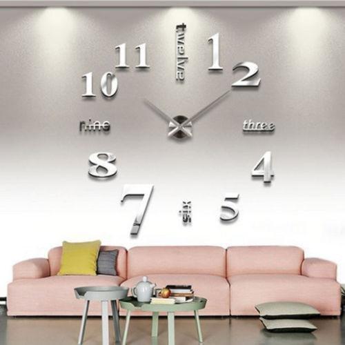 Asvert 3D Reloj de Pared Silencioso DIY de Material Acrílico con Números Adhesivos (Efecto de Espejo) y Agujas EVA para Decoración de Hogar, Plata