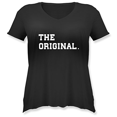 Partner-Look Familie Mama - The Original The Remix Eltern - Weit Geschnittenes Damen Shirt in Großen Größen mit V-Ausschnitt Schwarz