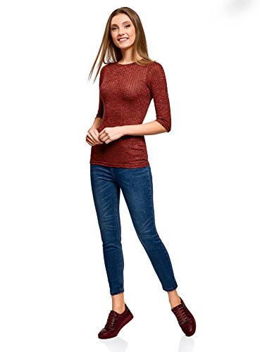 oodji Ultra Damen Gerippter Pullover mit 3/4-Ärmeln Rot (4529M)