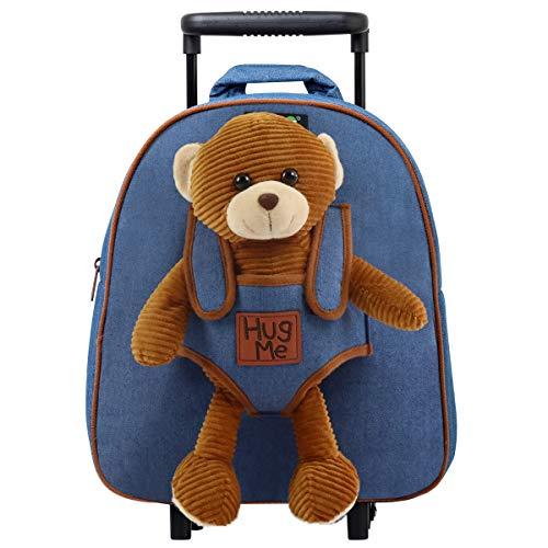 Zaino con rotelle cooldot felpato dotato di animaletto di peluche e ruote rimovibili - adorabile trolley per bambini dai 3 anni in su - usalo come bagaglio con rotelle, zaino o semplice borsa