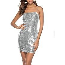 6ceffb76e Sayla Vestidos para Mujer Verano Sexy Casual Fiesta Flaco Holiday Club  Sleeveless Solid Sequins Vestido De