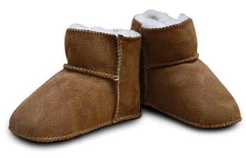 Babyschuhe - Lammfell, Größe:16/17;Farbe:camel