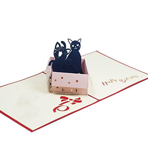 Favour Pop Up Glückwunschkarte zum Geburtstag. Stilvolles Design, aufwändige Handarbeit und ausgefeilte Lasertechnik schaffen auf kleinstem Raum ein filigranes Kunstwerk, dass jedem Katzenfan das Herz höher schlagen lässt. TB016