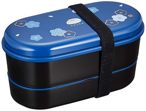 Skater KSX2-Blue3680 Japanische Brotdose mit Gürtel, Tasche und Essstäbchen (Kotobuki-bento)