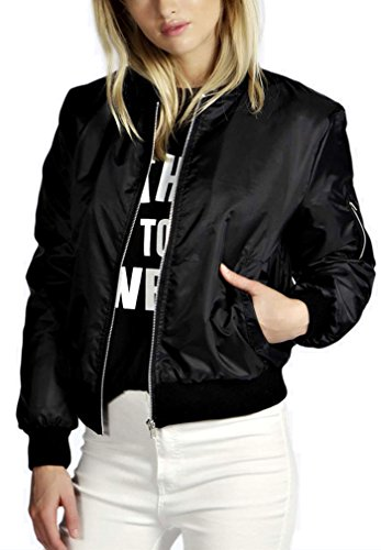 AIYUE Giacca Corta Donna Cappotto Biker Casuale Giacchetto Moto Bomber Jacket Maniche Lunghe con Cerniera Outerwear(nero,S)