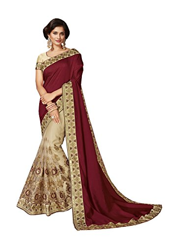 indian sarees for women wedding designer party wear Maroon+Cream Art Silk+Net sari in Maroon+Cream Art Silk+Net (Maroon Sari)