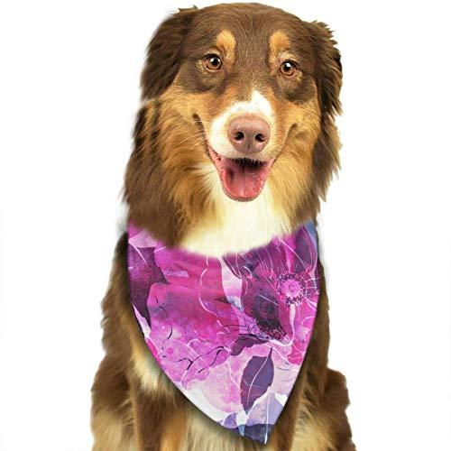 Hipiyoled Pet Bandana Bibs 1Pack Printed Cute Cowboy Bandana Party Favor Scarf Headband Handkerchiefs (Purple Florals)