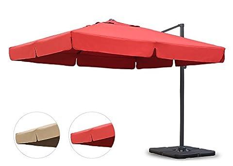 Sekey® Sonnenschirm 300 x 300 cm Aluminium-Sonnenschirm Marktschirm Gartenschirm Terrassenschirm Ampelschirm Kurbelschirm Terracotta Quadratisch Sonnenschutz UV50+
