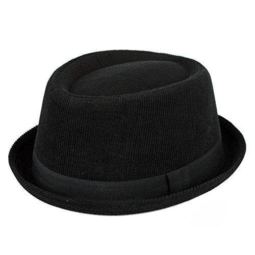 Men's Ladies Cotton Pork Pie Hat Plain Corduroy With Black Band - Black (59/L)