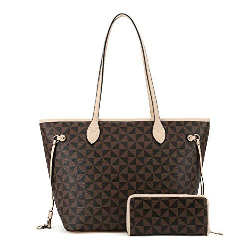 LADY'S NOVA Umhängetaschen und Handtaschen für Damen, Schultertasche, Portemonnaie, Tragegriff, Kuriertasche, Hobo, 2-teiliges Set, Beige (aprikose), Medium -