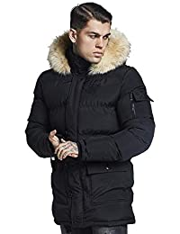 Sik Silk Hombre Puffa Parka Jacket, Negro