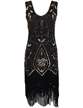 Gatsby Disfraz Vestido con Años 20 Estilo Vintaje Vestido Elegante Ceremonia Mujer