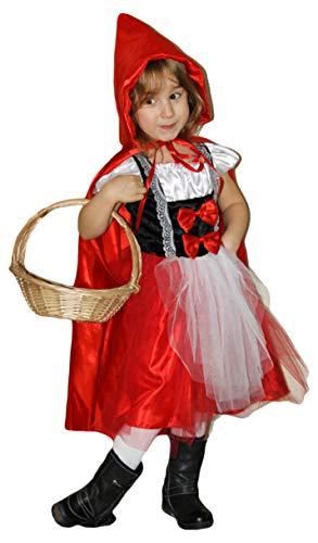 Märchen Kostüm Feuer - Brandsseller Karneval Fasching Rotkäppchen Kostüm mit Kapuzenumhang Verkleidung für Kinder - Größe: 152/164