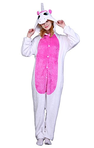 Unisex Erwachsene Pyjama Jumpsuit Einhorn Kostüm Onesie Schlafanzug Hausanzug Overall Weiß/Pink Größe M