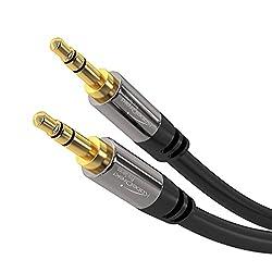 KabelDirekt - Aux Kabel, Audio & Klinkenkabel 3.5mm (Unzerstörbar konstruiert & geeignet für iPhones, iPads, Smartphones, MP3 Player, Tablet PCs, Autos & andere Stereo Geräte) - 1,5m - schwarz