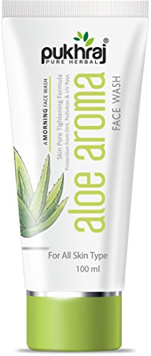 Pukhraj Aloe Vera mañana Face Wash–Anti-acne–Protección UV–Limpieza Profunda de los poros–Antienvejecimiento–acné propensos–crema hidratante de piel–Aceite limpiador de control para los hombres y las mujeres–de producción en la India–100ml