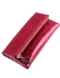 fcc4fcac36 Yvonnelee Delle donne del cuoio genuino portafogli borsa esclusiva Long  Bifold cassa
