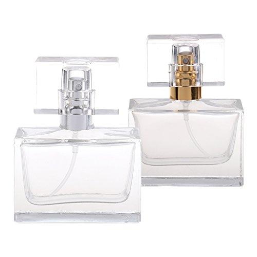 MagiDeal 2pcs Mini Bouteille Parfum Vide Rechargeable Portable en Verre Epais avec Atomiseur Voyage 30ML