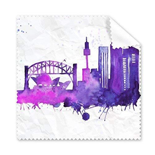OIBHFO Home Australien Flavour City Wahrzeichen Sydney Opera House und Sydney Harbour Bridge Aquarell Gläser Tuch Reinigungstuch Telefon Bildschirmreiniger