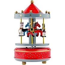alytimes Carrusel de Madera Caja de música de madera 4caballos giratoria caja de música cumpleaños de San Valentín Navidad niños regalo juguete (cielo estrellado Rojo)
