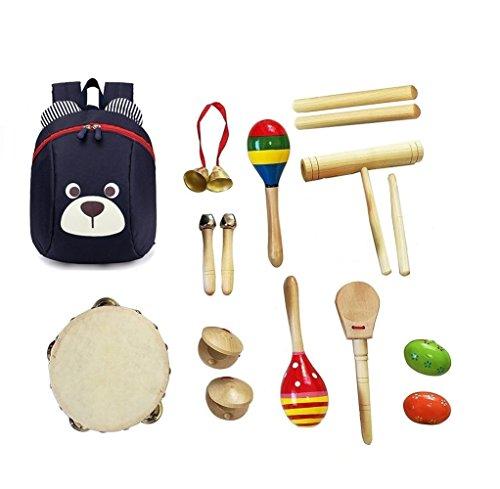 Abester Musikinstrument aus Holz 16 Stück, Set Tamburin Maracas Claves Egg Shaker Kastagnetten Glocken Hand-Percussion mit Rucksäcke für Kinder