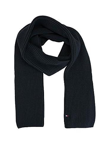 Tommy Hilfiger Herren Schal Pima Cotton Cashmere Scarf Schwarz (Black 002), One size (Herstellergröße: OS)