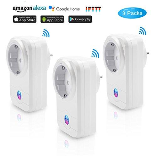 PHIFO 3 Packs Alexa Wifi Intelligenter Stecker Smart Steckdose & Wifi Steckdose Funktioniert mit Amazon Alexa Echo&Echo Dot und Google Home mit Timer-Schalter Power, Sprachsteuerung und Smartphone (iOS/Android) App-Steuerung