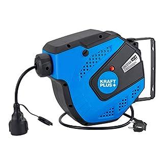 KRAFTPLUS® K.933-2115 Carrete de cable eléctrico con automática retráctil – Enrollador, 15m