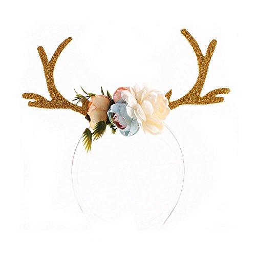 (Kicode Weihnachten Khaki Antlers Ohr-Stirnband Haar-Band Mit Blumen Geschenke Spielzeug Mädchen-Geburtstag)