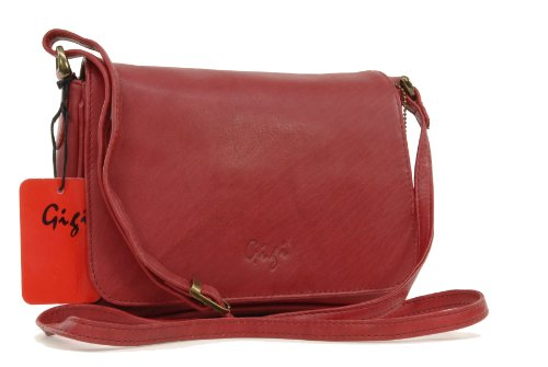 Organizer-Umhängetasche aus Leder von Gigi - GRÖßE: B: 22 cm, H: 14 cm, T: 5 cm Rot