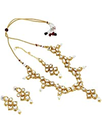 Aradhya Designer Style Traditional Kundan Necklace Set With Earrings And Maang Tikka For Women And Girls