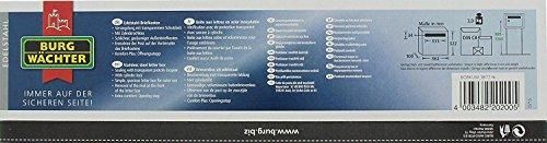 BURG-WÄCHTER, Edelstahl-Briefkasten mit Öffnungsstopp, A4 Einwurf-Format, Borkum 3877 Ni, Edelstahl - 5