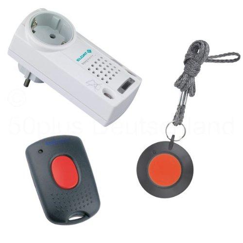 Pflegeruf-Set / Hausnotruf / Senioren-Hausalarm / Senioren-Sicherheitspaket 2 - (mit Funk-Halsbandsender, Empfänger mit Quittierungsfunktion und Mikro-Handsender zum Abstellen des Empfängers aus der Entfernung