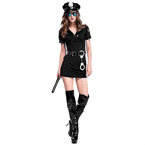 fagginakss Halloween Maskerade Erwachsene Frauen Sexy Cop Uniform Cosplay Kostüm Schwarz Kostüm Kleid Schlank Passen - Cop Uniform Kostüm Frauen