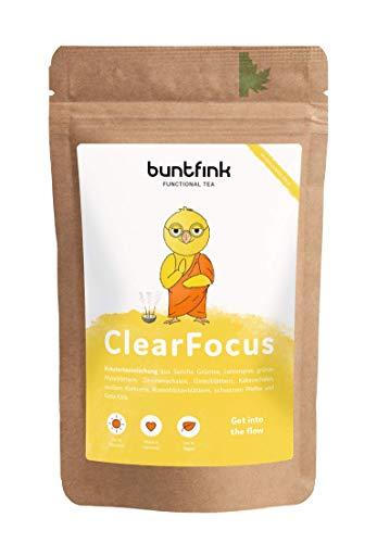 """""""ClearFocus"""" Tee mit Sencha Grüntee + Kurkuma + Ginkgo + schwarzer Pfeffer, für Schule, Job und Studium, 100% natürlicher Kräutertee aus Deutschland, 60g loser Tee"""