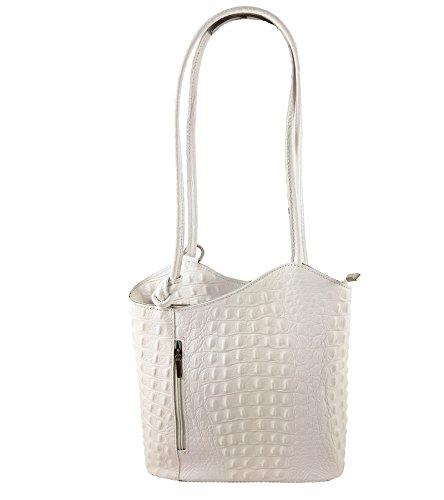 Freyday 2 in 1 Handtasche Rucksack Designer Luxus Henkeltasche aus Echtleder in versch. Designs (Kroko Weiß)