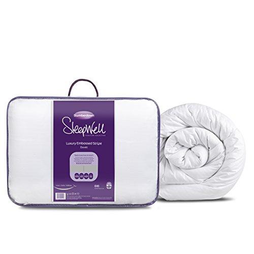 Slumberdown poliéster, algodón Sleepwell raya Lujo 10.5 Tog Edredón, Tamaño King, blanca