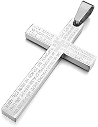 MunkiMix Stainless Steel Pendant Necklace Cross English Bible Lords Prayer Men ,23 inch Chain