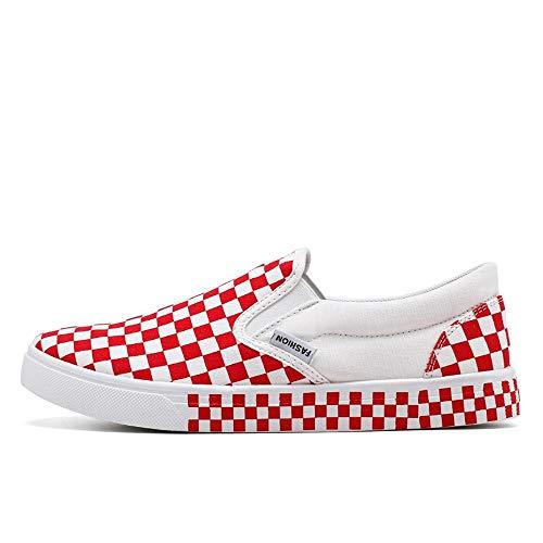 Casual Suede Shoe Sneaker für Männer Slip On Style Canvas Material Sportschuhe Side Elastic Strap Grid Textur Obere Laufsohle Herren Sneaker (Color : Red White, Größe : 41 EU) -